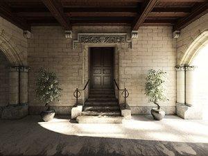 3D model medieval stone house entrance