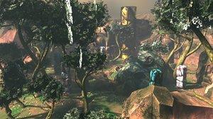 3D ruins jungle forest