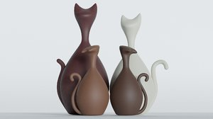 3D ornamental cat figurines