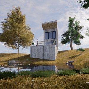3D wood house 2 revit