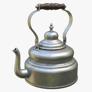 3D silver kettle model