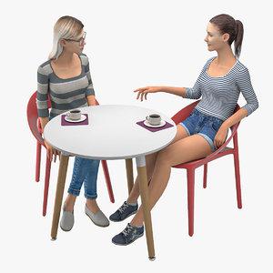 girls talks cafe table model