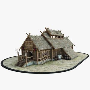 3D medieval viking house 1 model