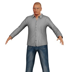3D old man white model