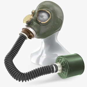 3D green gas mask long model