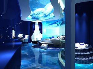3D interior scene bedroom decoration