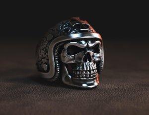 3D jewellery ring skull hard hat model