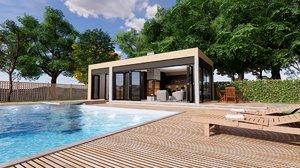 3D modern pool house fireplace