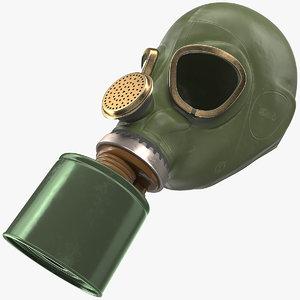 3D single filter gas mask