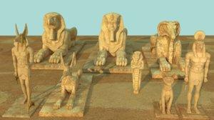 egypt sculptures statues 3D model