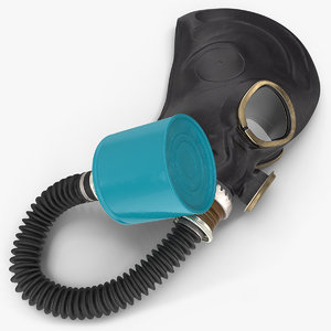 3D black rubber gas mask