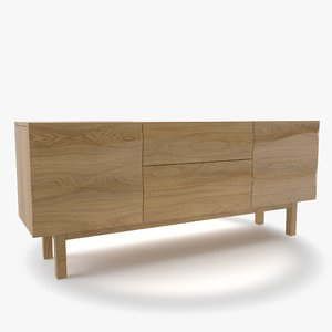 apex white oak sideboard 3D model