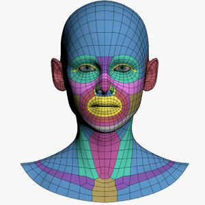 3D model head human base mesh