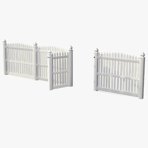 white fencing palisade pointed 3D model