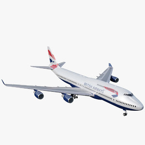 3D 747-400 british airways 747 jumbo model