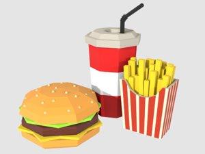 burger combo potatoes soda model