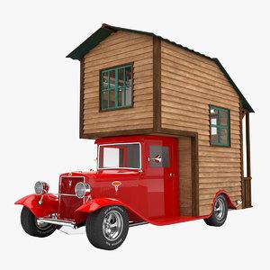 3D model truck caravan