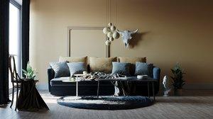 livingroom interior corona 3D model