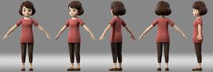 3D cartoon woman teacher model