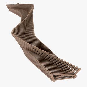 parametric light wood bench model