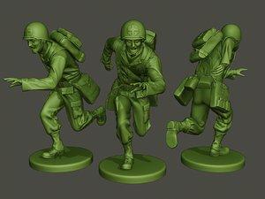 american soldier ww2 running 3D