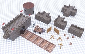 3D low-poly ready constructor fortress
