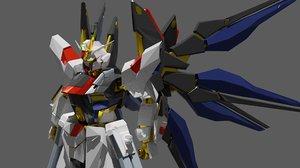 strike freedom gundam rough 3D model