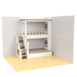 3D baby bunk bed model