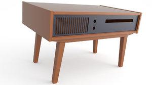table gramophone retro 3D model