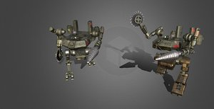 3D dieselpunk frog mecha