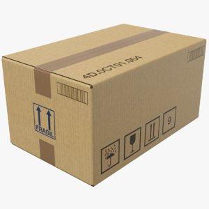 3D real cardboard box model