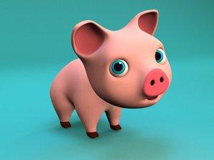 3D model pig cartoon little