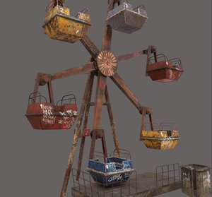 3D model abandoned ferris wheel