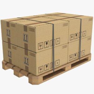 real cardboard box pallet 3D model