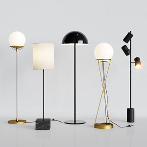 5 floor lamps set 3D model