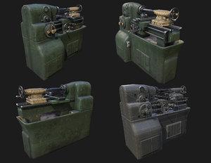 3D lathe wwii industrial machining model