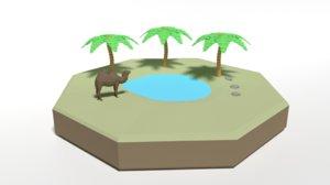 oasis scene 3D model