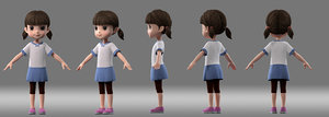 3D cartoon girl child student
