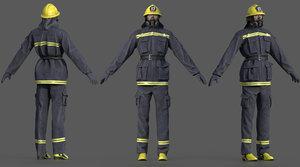 character helmet uniform 3D model