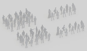 30 peoples silhouttes woman 3D model