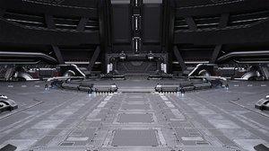 3D sci-fi scene renders time