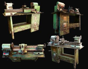 3D metalworking lathe wwii war machine model