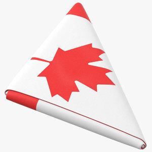 flag folded triangle canada 3D model