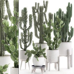 decorative white pots interior 3D model