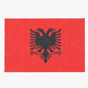 flag laying pose albania 3D model
