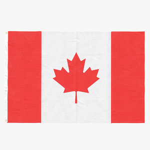 3D model flag laying pose canada