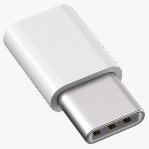 micro usb typec white 3D