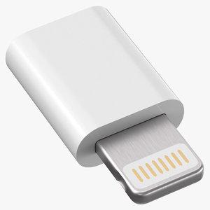 micro usb lightning white 3D model