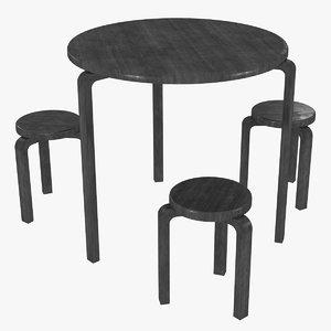 3D model minimalist black mahogany artek