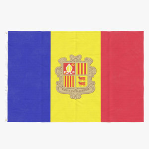 3D model flag laying pose andorra